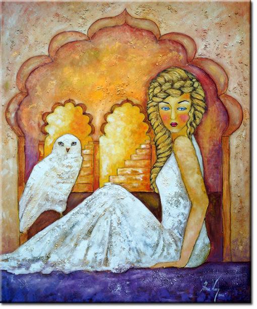 malarstwo olejne księżniczka i puchacz