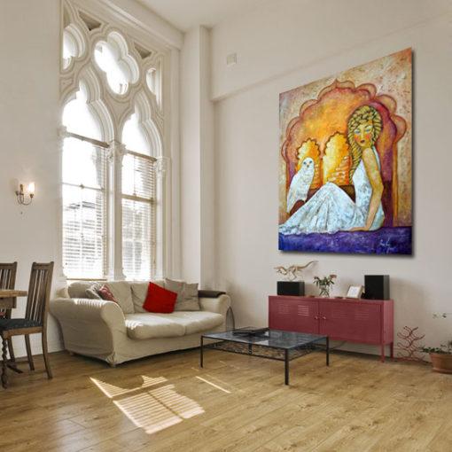 malarstwo olejne sułtanka i sowa