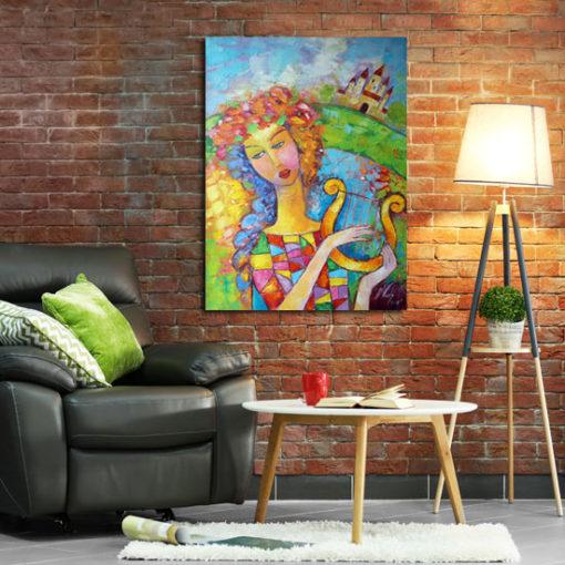obraz malowany kobieta w wianku