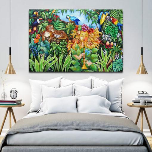 obraz na krosnach czarodziejka i dżungla
