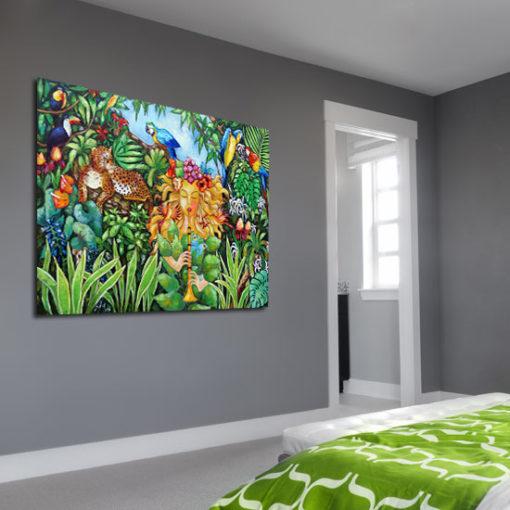 obraz malowany tropikalna dżungla