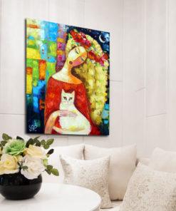 obraz malowany jasnowłosa i kot