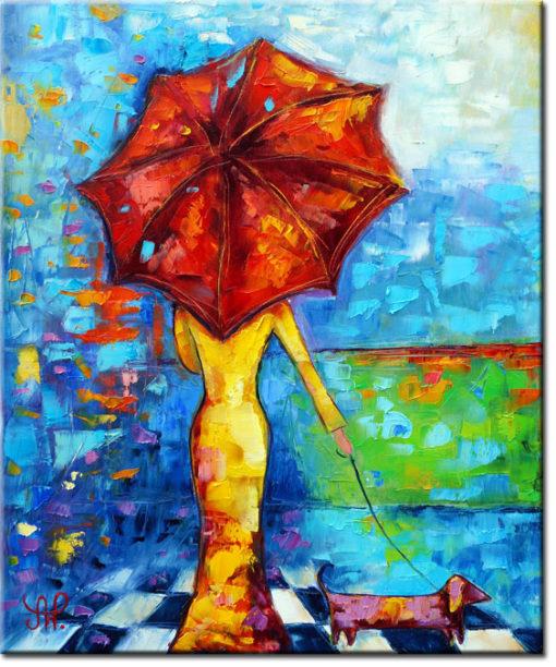 obraz malowany deszczowy spacer