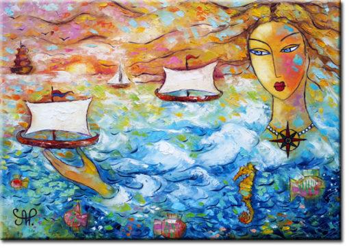 Obraz na płótnie z kobietą i morzem - Róża wiatrów 3