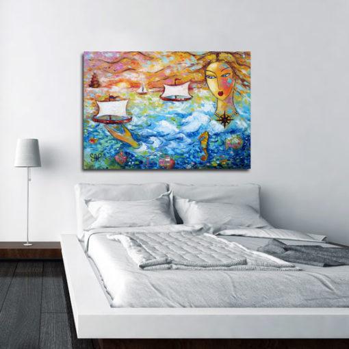 Obraz na płótnie z kobietą i morzem - Róża wiatrów 1