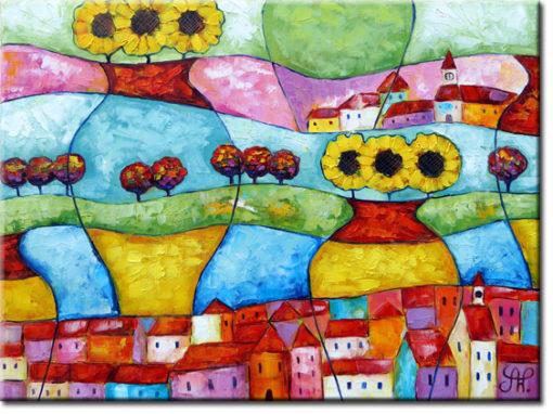 malarstwo olejne słoneczniki i budynki
