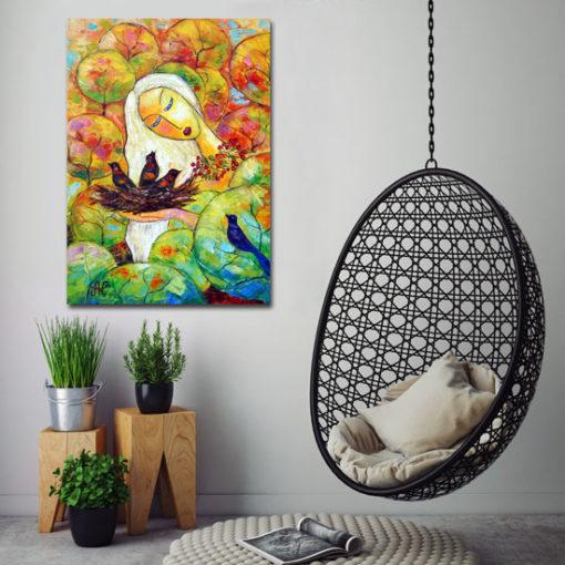 malarstwo szpachlowe kobieta i ptaki