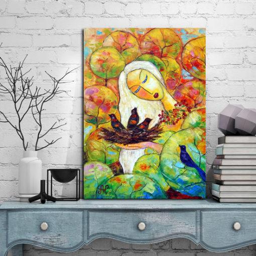 obraz malowany kobieta i ptaki