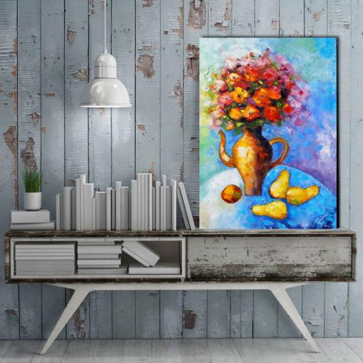 obraz olejny bukiet kwiatów i gruszki