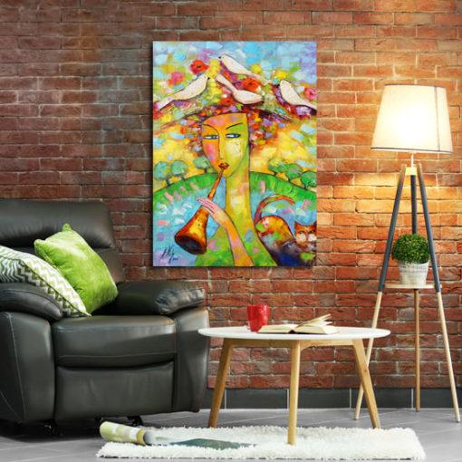 obraz malowany kobieta z kotem