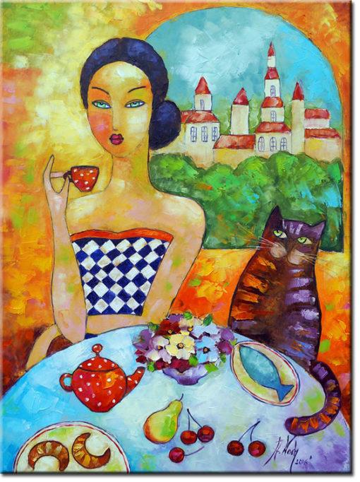 malarstwo szpachlowe kobieta z kotem