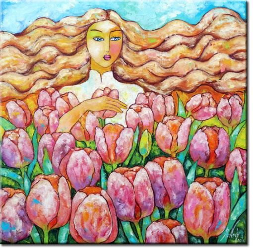 obraz różowe tulipany i kobieta