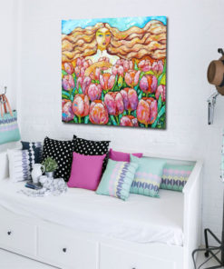 obraz szpachlowy z polem tulipanów