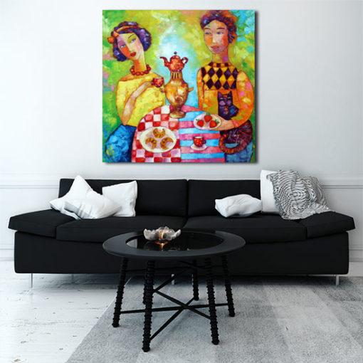 obraz malowany z para zakochanych