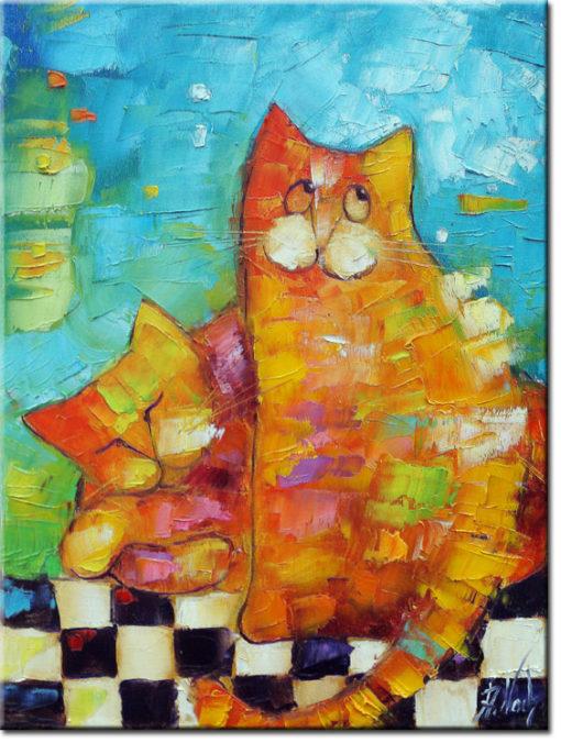 obraz malowany kolorowe kotki