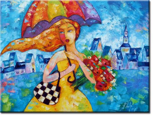 obraz do sypialni kobieta pod parasolem