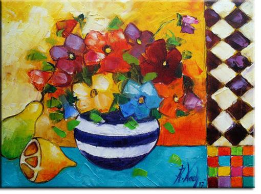 obraz do jadalni kwiaty i owoce