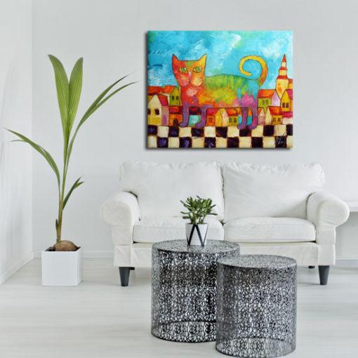 kolorowe obrazy olejne do pokoju