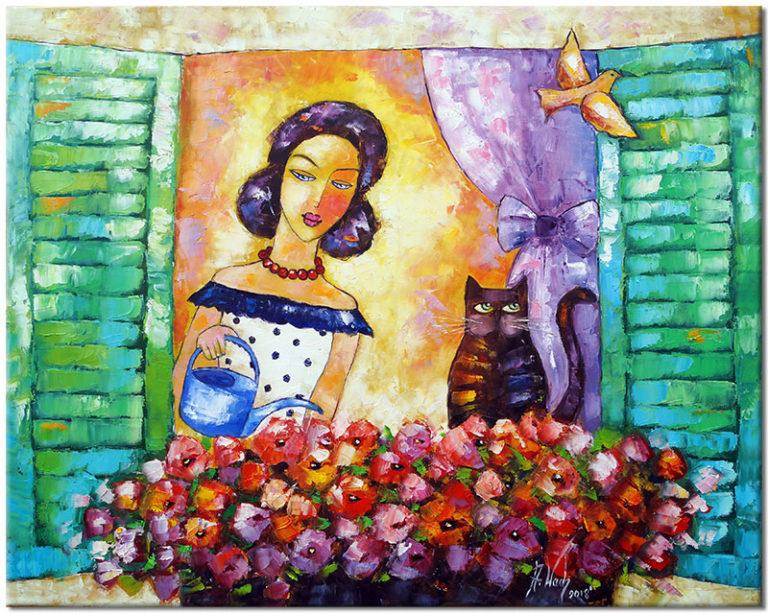 Obraz Ręcznie Malowany - Kobieta Podlewająca Kwiaty W Oknie