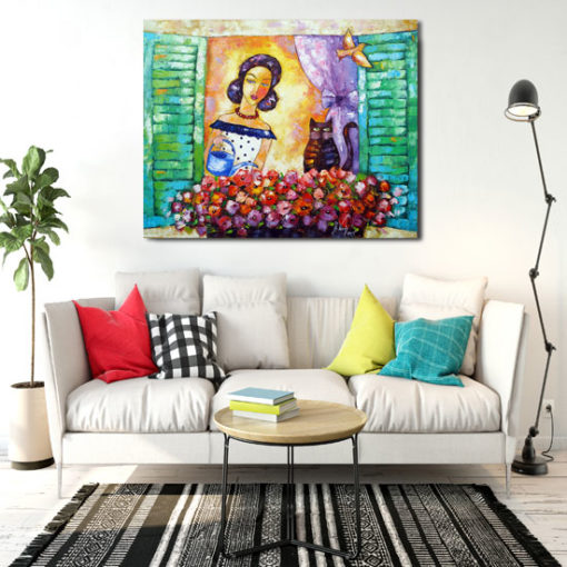 obraz kobieta podlewająca kwiaty