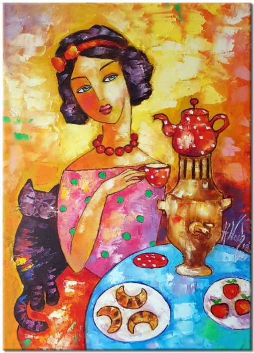 obraz z kobieta i kotem