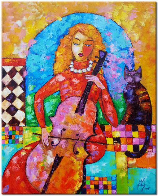 obraz malowany wiolonczelistka