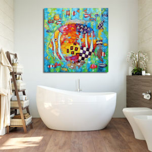 obrazy ręcznie malowane do łazienki. Czarno-białe, kolorowe, śmieszne i na szkle