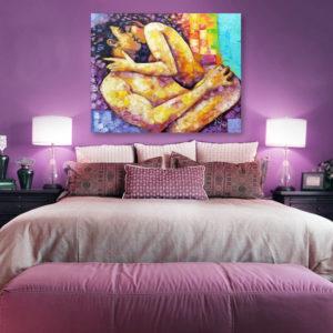 Obrazy do sypialni nad łóżko. Ręcznie malowane na płótnie - akty, kochankowie