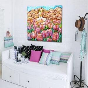 Obrazy olejne z motywem kwiaty (róże) w wazonie i rośliny