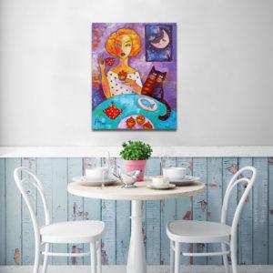 Obrazy ręcznie malowane do kuchni - tryptyki, z napisami, z motywem kawy i herbaty