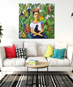 obraz z kobieta i tropikalną dżunglą