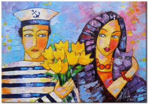 obraz ręcznie malowany miłoścć marynarza