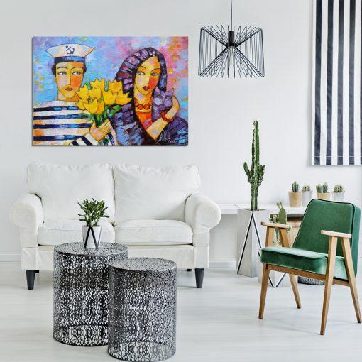 obraz malowany o tematyce miłosnej