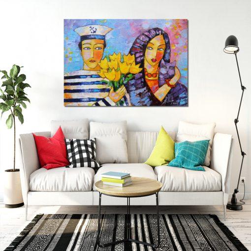 Obraz olejny z marynarzem i dziewczyną - Bukiet żółtych tulipanów 1