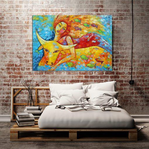 obraz szpachlowy recznie malowany