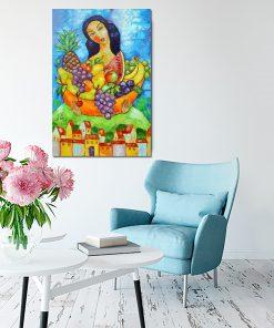 obraz szpachlowy dziewczyna i owoce