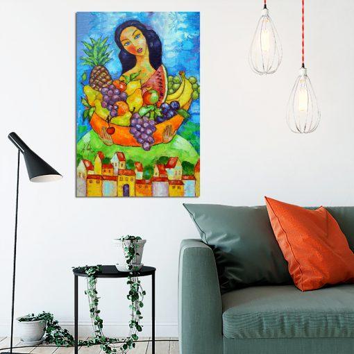 obraz dziewczyna i kosz owoców