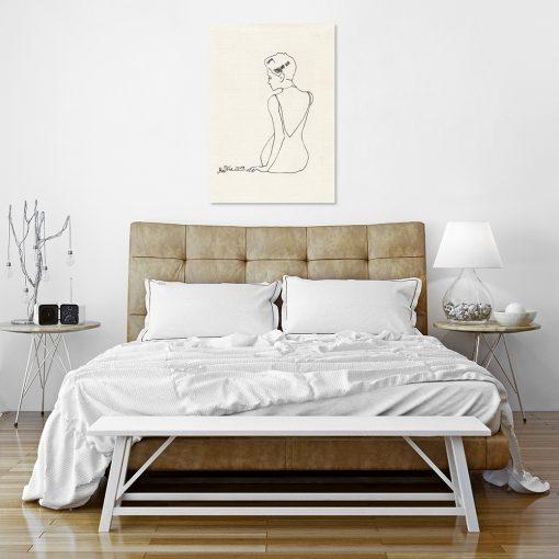 elegancki obraz do sypialni z rysunkiem kobiety