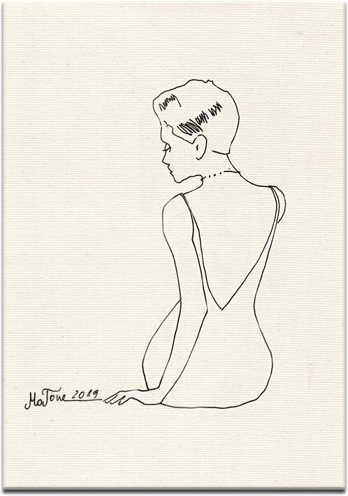 obraz kobieta siedząca tyłem