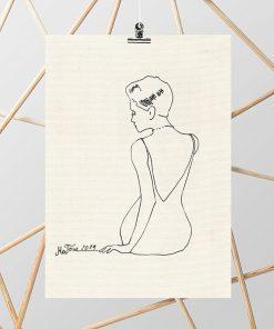 obraz z kobietą rysunek szkic kontury