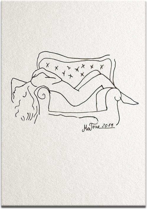 obraz z rysunkiem nagiej kobiety