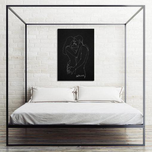 obraz z całującą się para na ścianę do sypialni