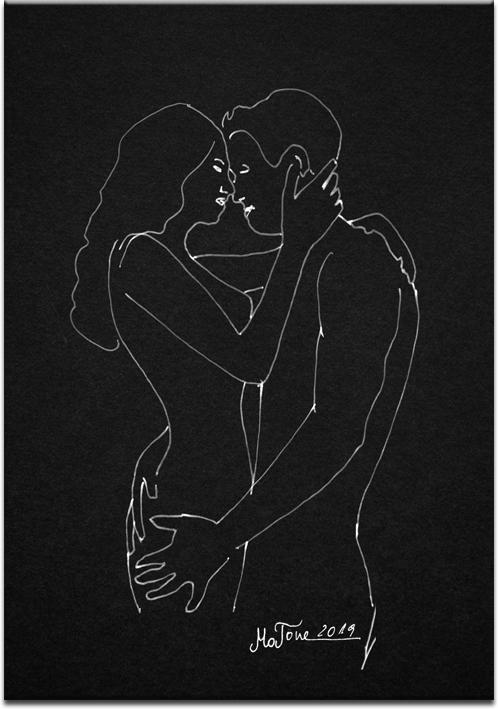 Obraz z rysunkiem całującej się pary 1
