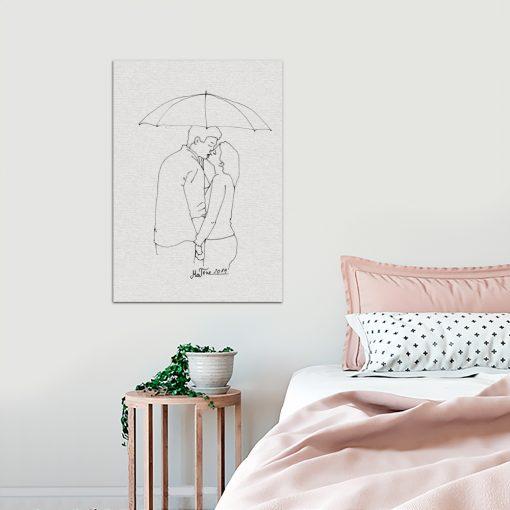 obraz zakochana para podczas deszczu