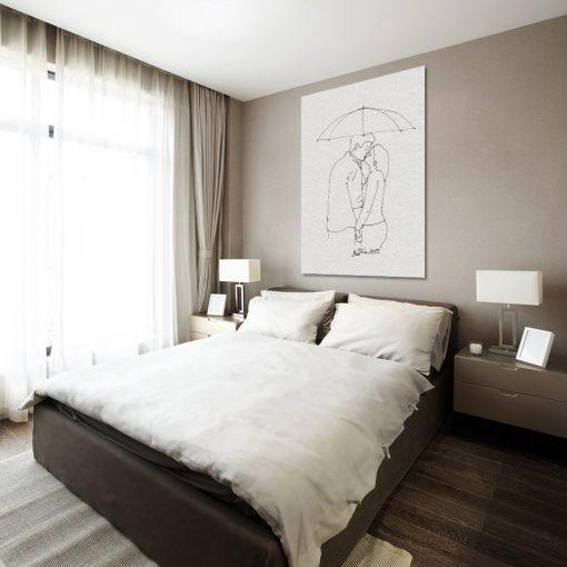 obraz do sypialni z parą pod parasolem