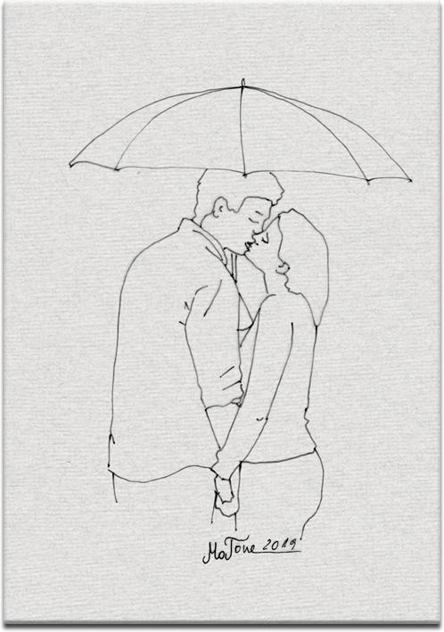 obraz z całującą się parą