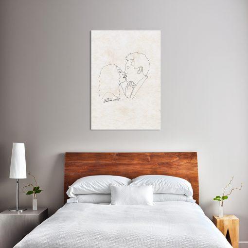 obraz ze szkicem do sypialni
