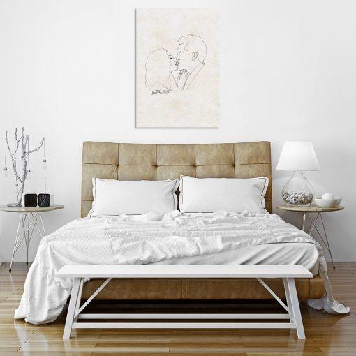 obraz z całującą się parą na ścianę do sypialni
