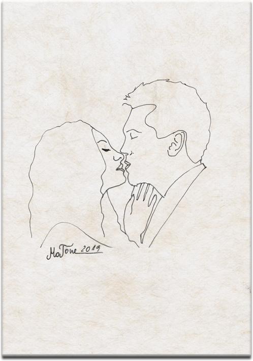 obraz z całującą się parą szkic