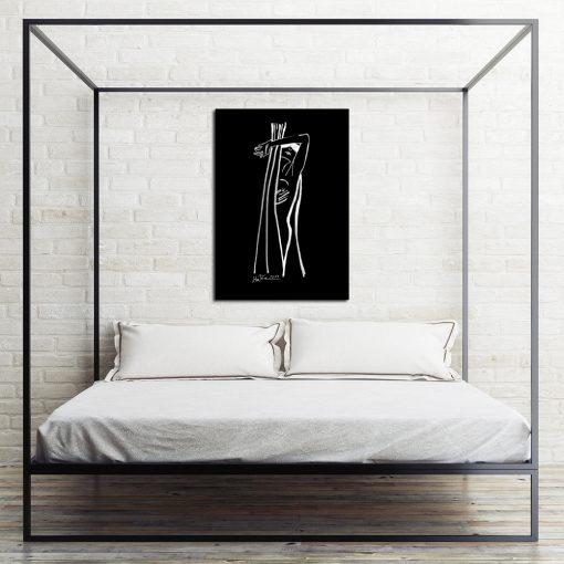 czarno-biały obraz ze szkicem do sypialni